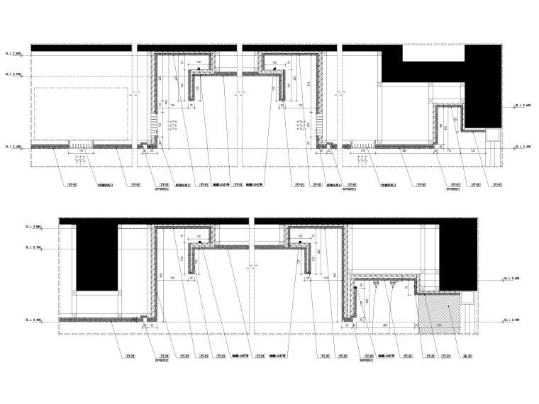 [宁波]182㎡现代三居室上叠别墅家装施工图-天花节点大样详图