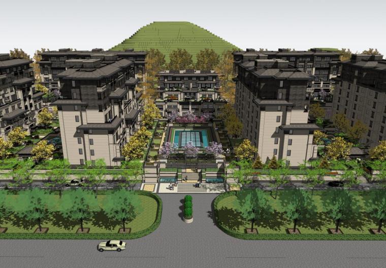 [河北]新中式山地洋房+叠拼+商业建筑方案-01 主入口鸟瞰图