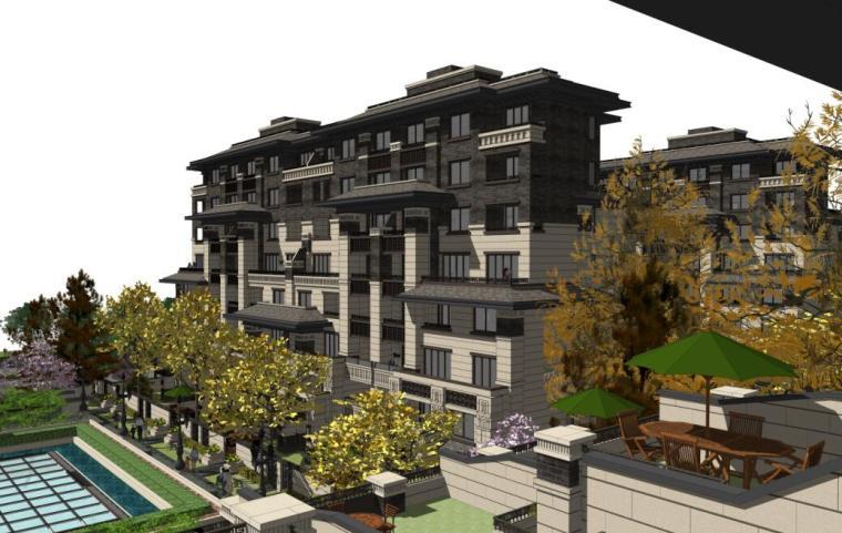 [河北]新中式山地洋房+叠拼+商业建筑方案-景观轴透视图