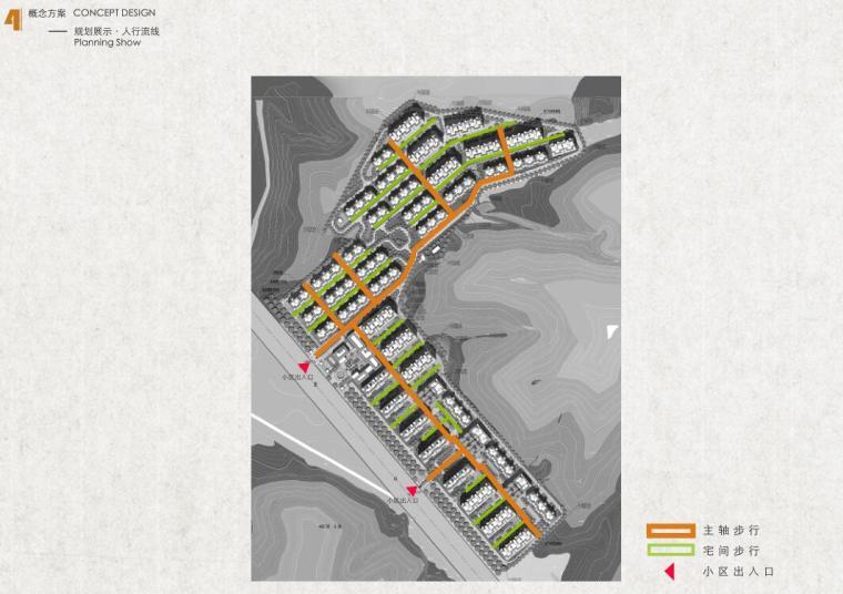 [河北]新中式山地洋房+叠拼+商业建筑方案-人行流线1