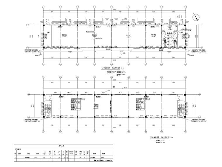 [贵州]饲料生产加工厂房暖通施工图2019-12#辅助用房通风平面图