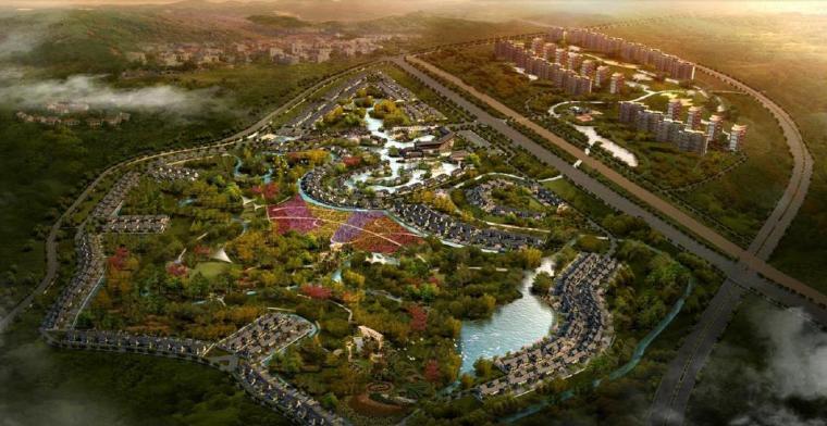 [四川]成都特色小镇居住区景观设计方案-鸟瞰图