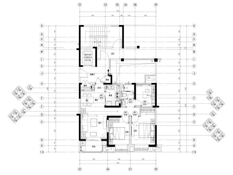 [宁波]中河大都会77㎡现代两居室家装施工图-平面布置图