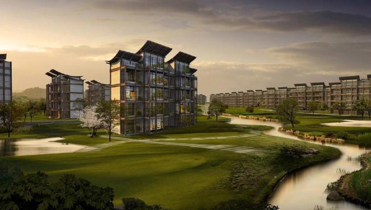 [四川]成都特色小镇居住区景观设计方案-居住区效果图