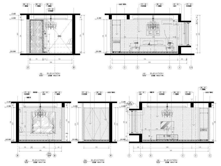[宁波]中河大都会77㎡现代两居室家装施工图-卧室立面图