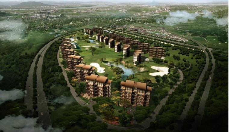 [四川]成都特色小镇居住区景观设计方案-森林居住区效果图