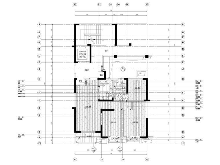 [宁波]中河大都会77㎡现代两居室家装施工图-地面铺装图