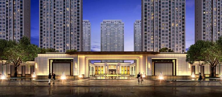 [江苏]新古典风格临湖住宅+别墅建筑方案-入口 一进园林空间