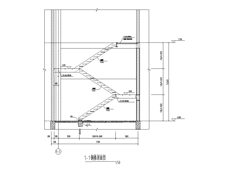 [遵义]框架+门式刚架结构厂房结施图纸2018-钢梯剖面图