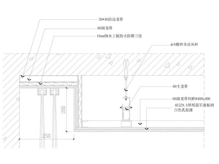 墙纸墙面,踢脚,收口,拼接节点大样详图-窗帘盒节点详图