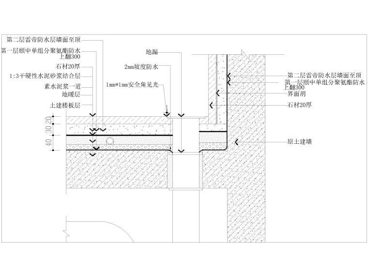 墙纸墙面,踢脚,收口,拼接节点大样详图-卫生间地漏防水节点