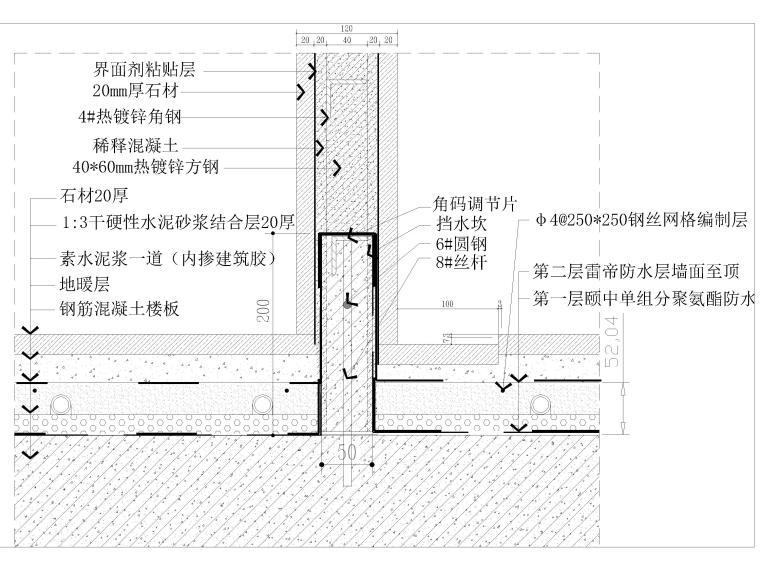 墙纸墙面,踢脚,收口,拼接节点大样详图-卫生间淋浴间钢架墙节点