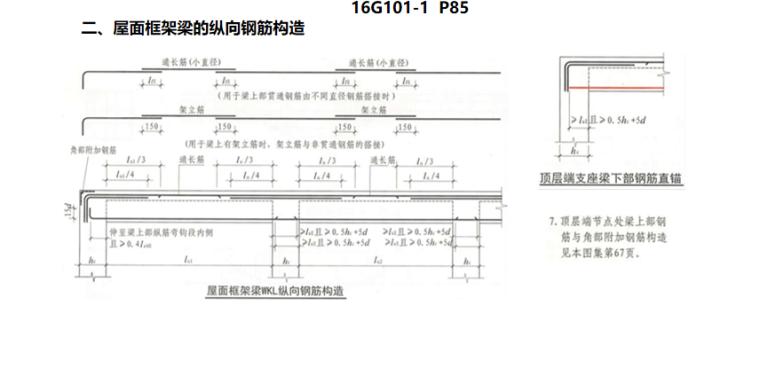 16G101图集梁的钢筋构造PPT-04 屋面框架梁的纵向钢筋构造