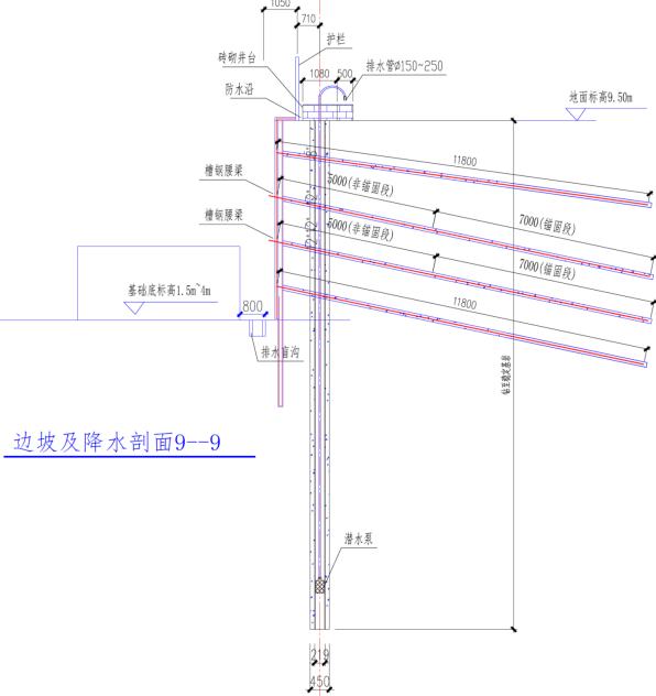 福州航站楼基坑支护及降排水施工方案(精品)-密排微型桩结合预应力锚杆复合挡墙支护结构剖面图