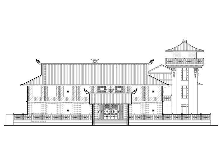 中式二层景区游客服务中心建筑施工图2019-立面图1