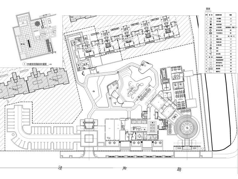 [江苏]无锡锡北金茂示范区景观工程施工图-设施小品布置平面图