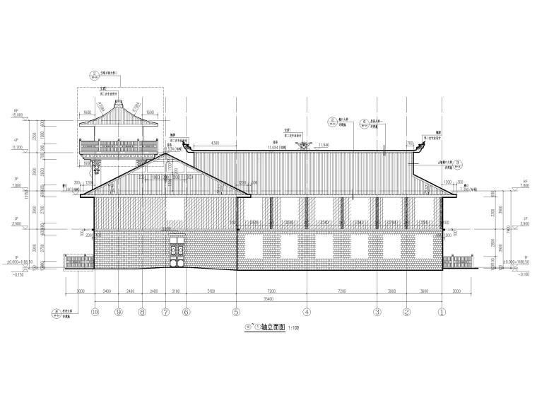 中式二层景区游客服务中心建筑施工图2019-立面图2