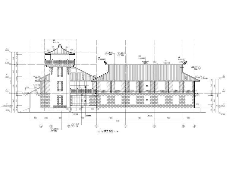 中式二层景区游客服务中心建筑施工图2019-立面图3