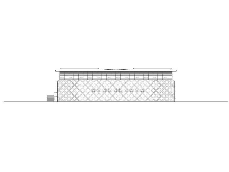 2层框架结构中学体艺楼建筑施工图-立面图1