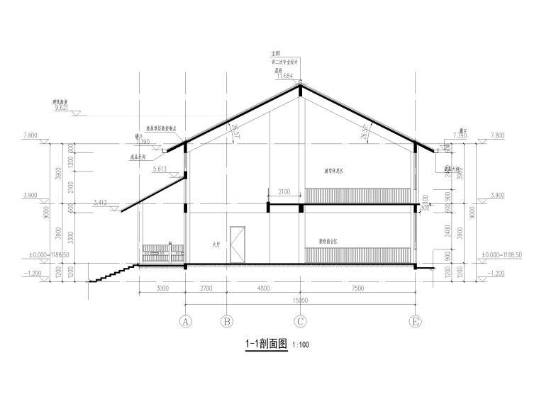 中式二层景区游客服务中心建筑施工图2019-1-1剖面图