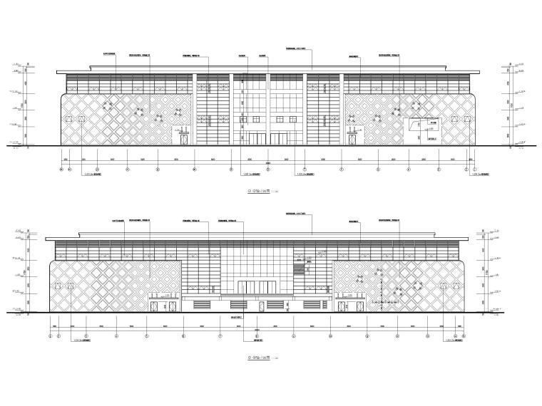 2层框架结构中学体艺楼建筑施工图-立面图3