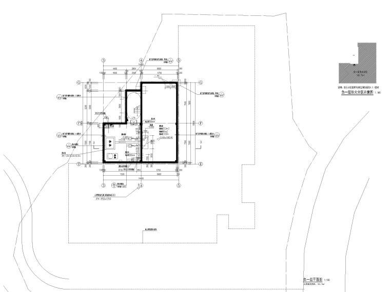 中式二层景区游客服务中心建筑施工图2019-负一层平面图