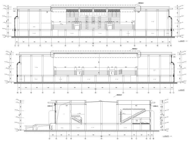 2层框架结构中学体艺楼建筑施工图-剖面图