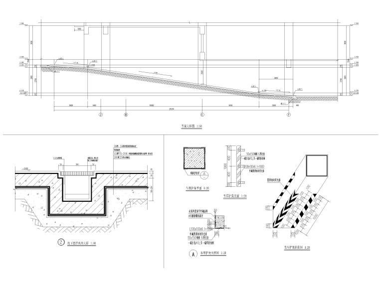 2层框架结构中学体艺楼建筑施工图-车道大样图、节点大样图