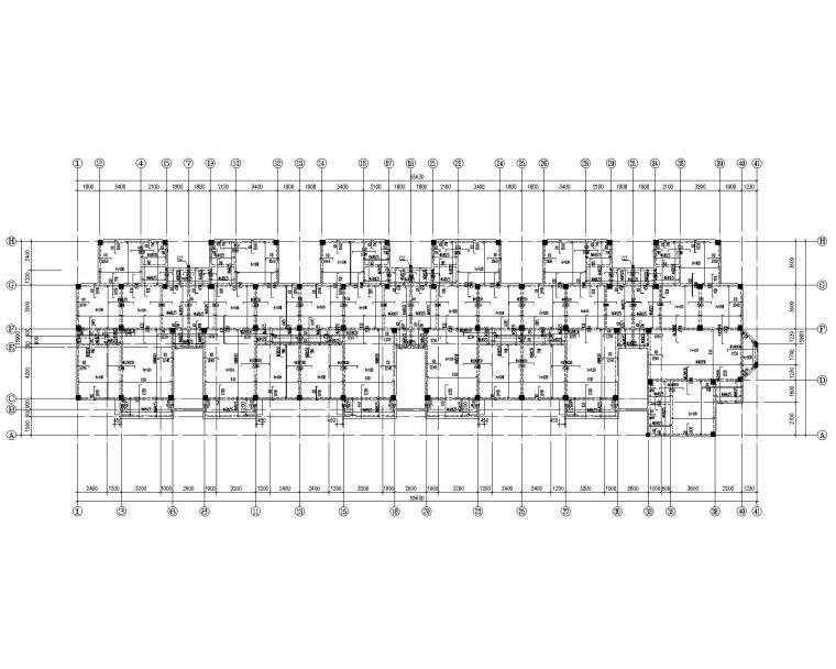 六层混凝土住宅框架桩基础结构施工图CAD-三.四.五层结构平面图