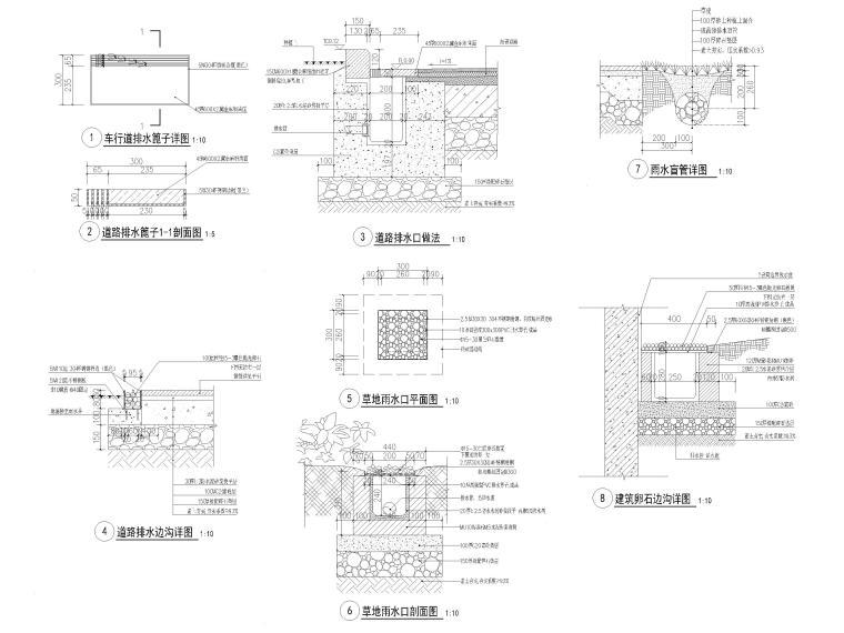 [江苏]无锡锡北金茂示范区景观工程施工图-雨水口做法详图