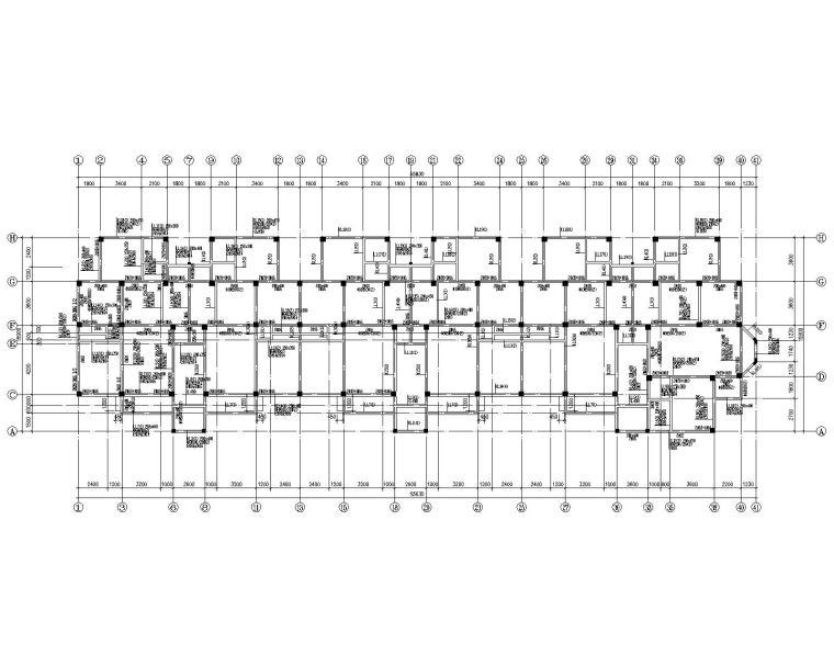 六层混凝土住宅框架桩基础结构施工图CAD-二层梁配筋平面图