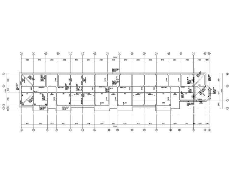 六层混凝土住宅框架桩基础结构施工图CAD-屋顶梁配筋平面图