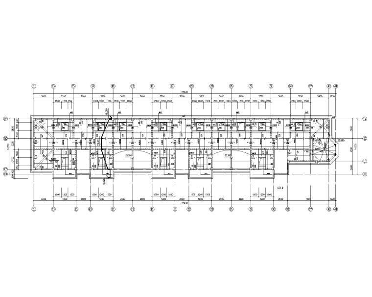 六层混凝土住宅框架桩基础结构施工图CAD-屋顶结构平面图