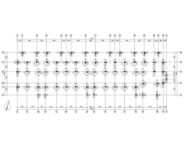 六层混凝土住宅框架桩基础结构施工图CAD-桩位布置图