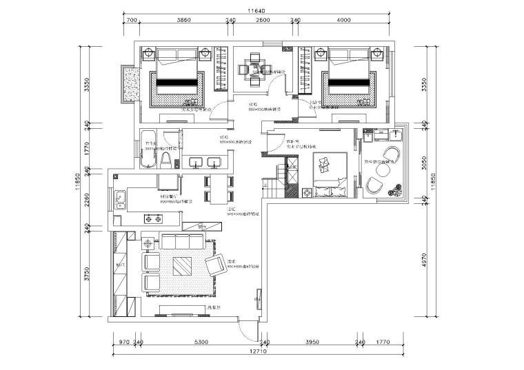[浙江]温州渔巷花园二层阁楼住宅设计施工图-平面布置图6