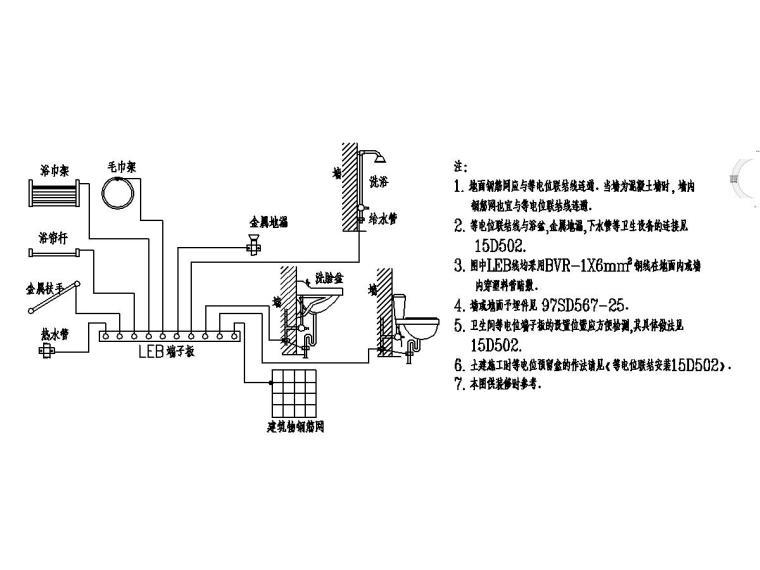 [贵州]农村安置房电气施工图(含招标文件)-10卫生间等电位联结详图