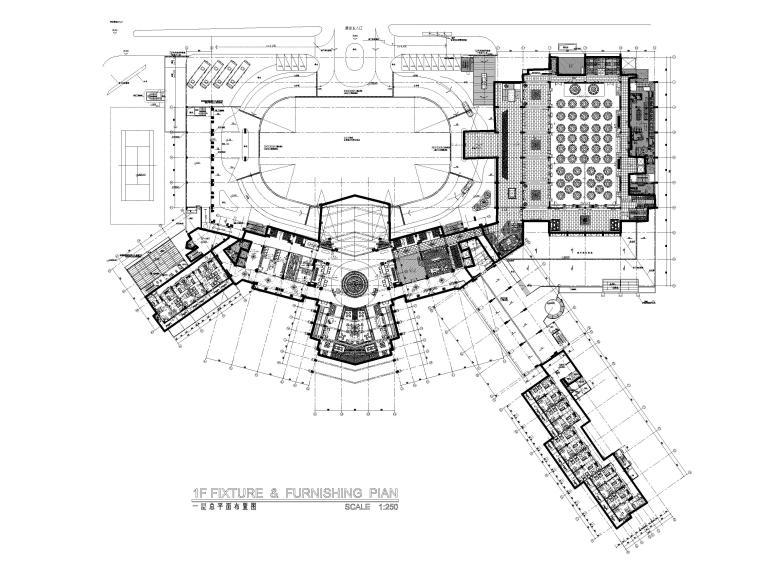 [三亚]海居Pullman度假酒店室内装修施工图-1F总平面图