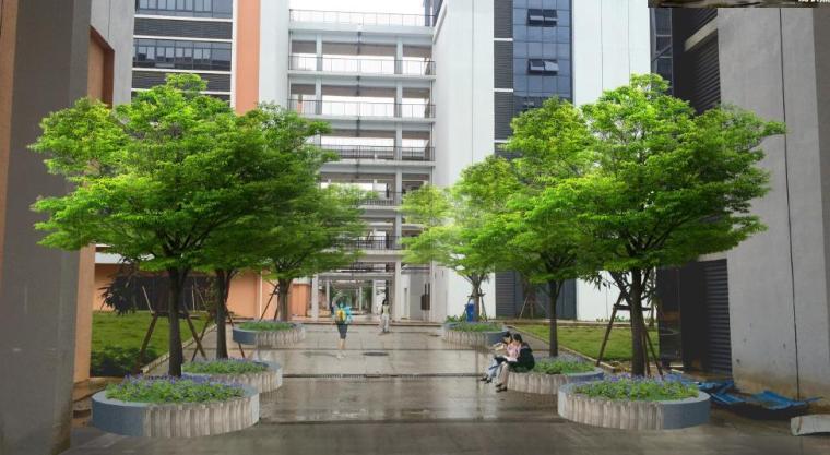 [广西]南宁某科技大学景观设计方案-教学楼中庭效果图