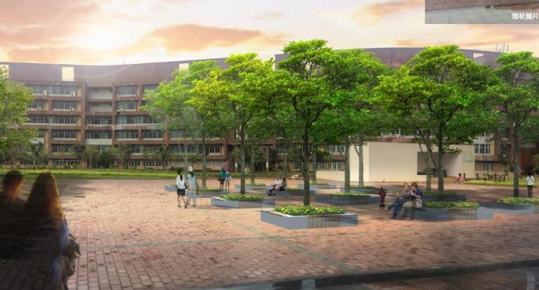 [广西]南宁某科技大学景观设计方案-校园休闲广场效果图