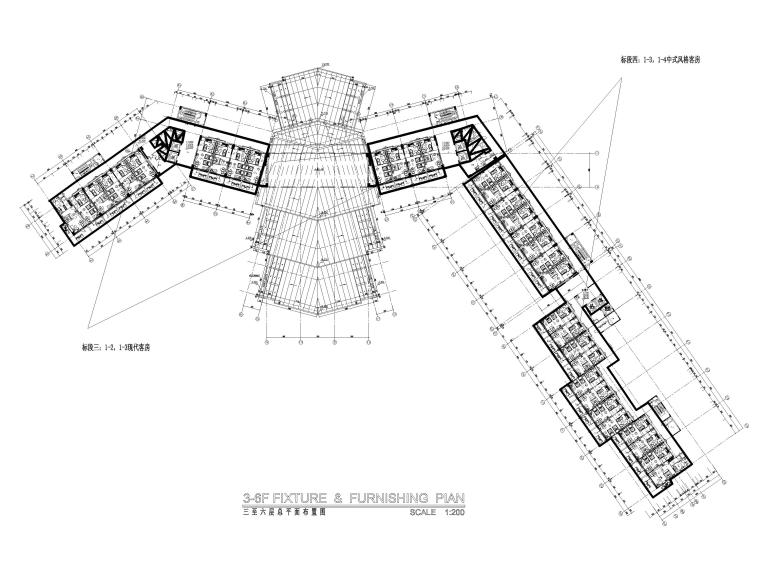 [三亚]海居Pullman度假酒店室内装修施工图-3-6F标准层总平面图