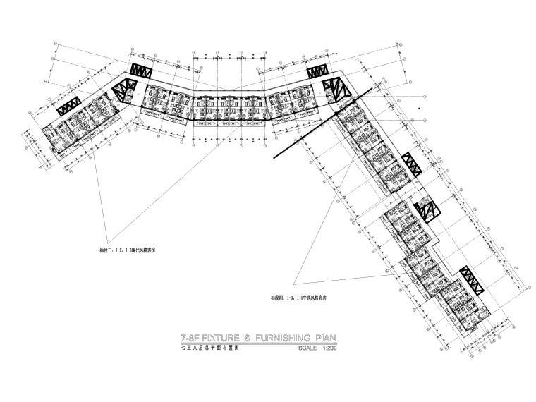[三亚]海居Pullman度假酒店室内装修施工图-7-8F标准层总平面图