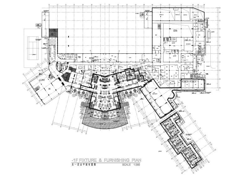 [三亚]海居Pullman度假酒店室内装修施工图--1F总平面图