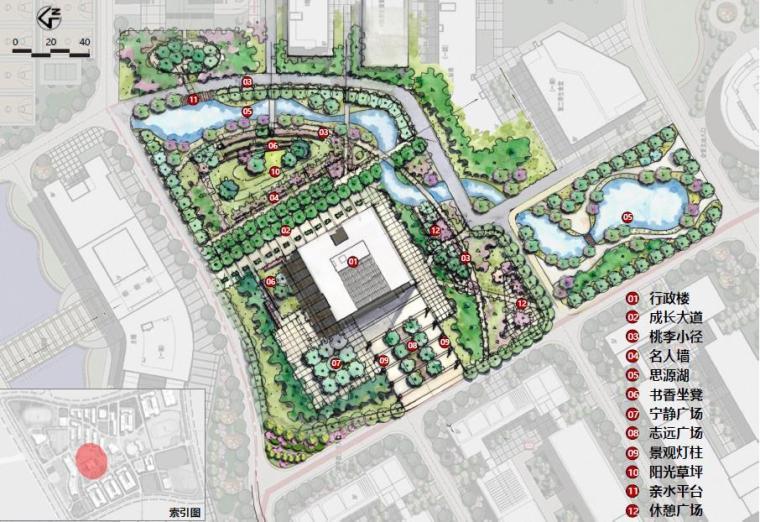 [广西]南宁某科技大学景观设计方案-总平面