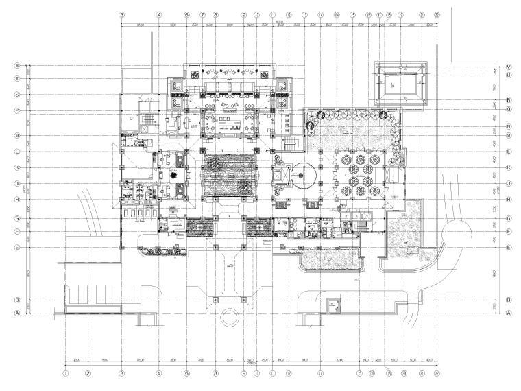 [三亚]海棠湾五星康莱徳酒店室内装修施工图-一层主楼平面布置图