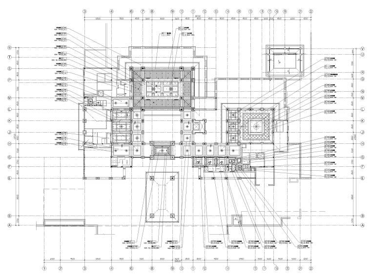 [三亚]海棠湾五星康莱徳酒店室内装修施工图-一层主楼天花布置图