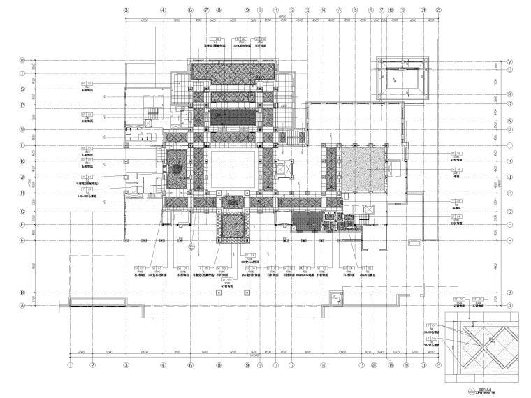 [三亚]海棠湾五星康莱徳酒店室内装修施工图-一层主楼地面铺装图