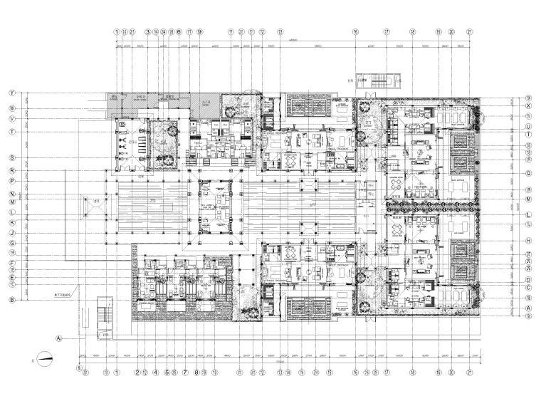 [三亚]海棠湾五星康莱徳酒店室内装修施工图-一层SPA平面布置图