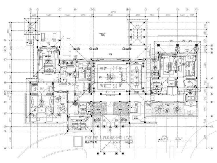 [三亚]海棠湾五星康莱徳酒店室内装修施工图-总统套房平面布置图