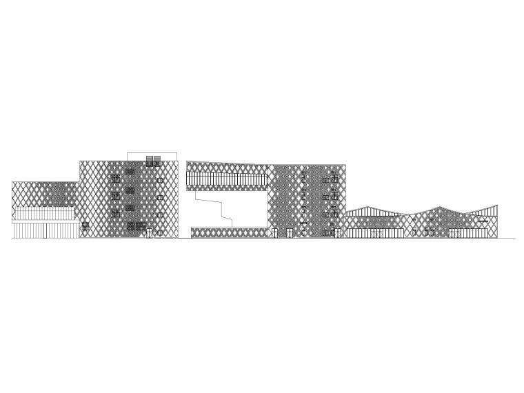 [贵州]四层框架结构博物馆建筑施工图2018-立面图1