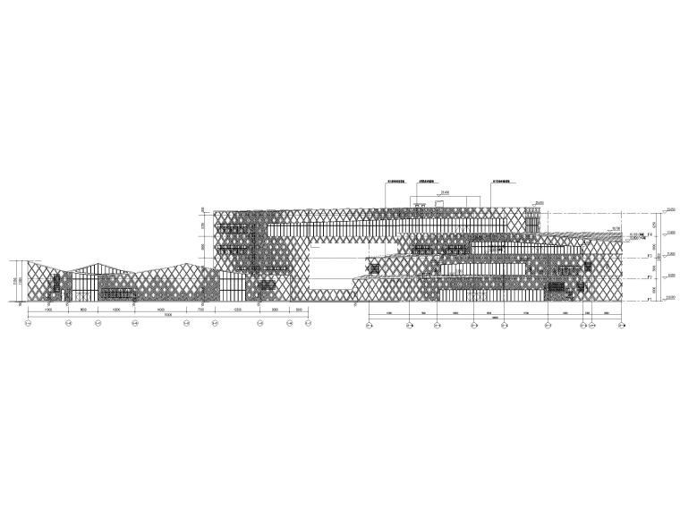 [贵州]四层框架结构博物馆建筑施工图2018-立面图3